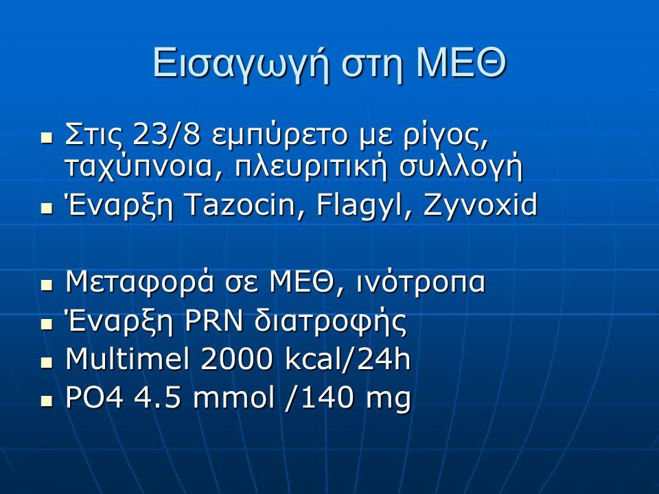 Εισαγωγή στη ΜΕΘ Στις 23/8 εμπύρετο με ρίγος, ταχύπνοια, πλευριτική συλλογή. Έναρξη Tazocin, Flagyl, Zyvoxid.