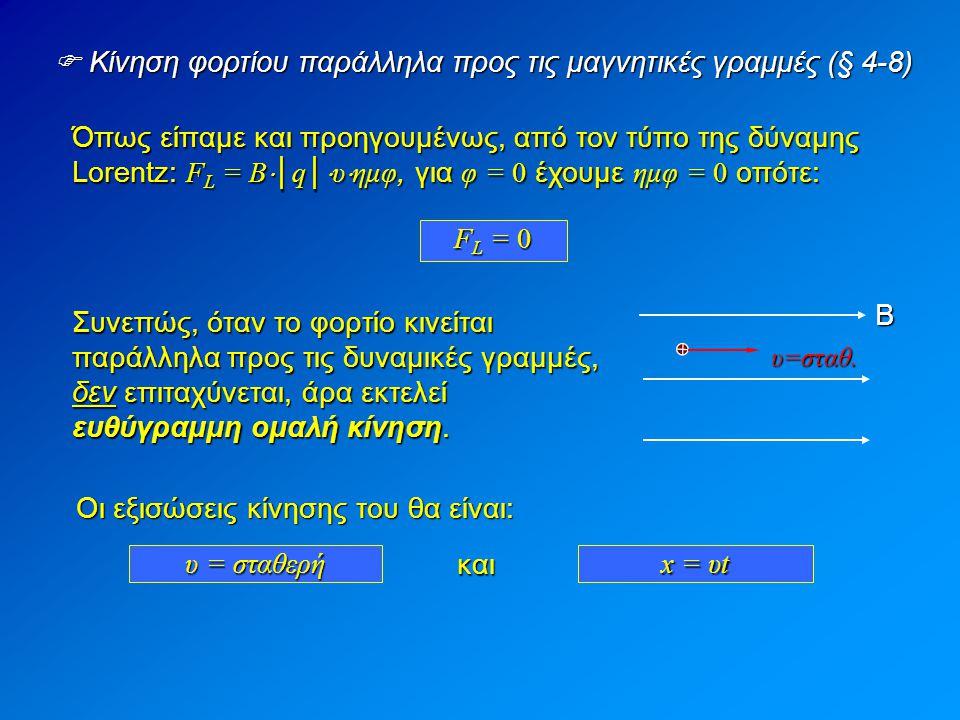  Κίνηση φορτίου παράλληλα προς τις μαγνητικές γραμμές (§ 4-8)
