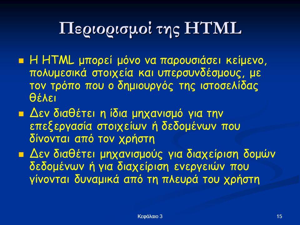 Περιορισμοί της HTML