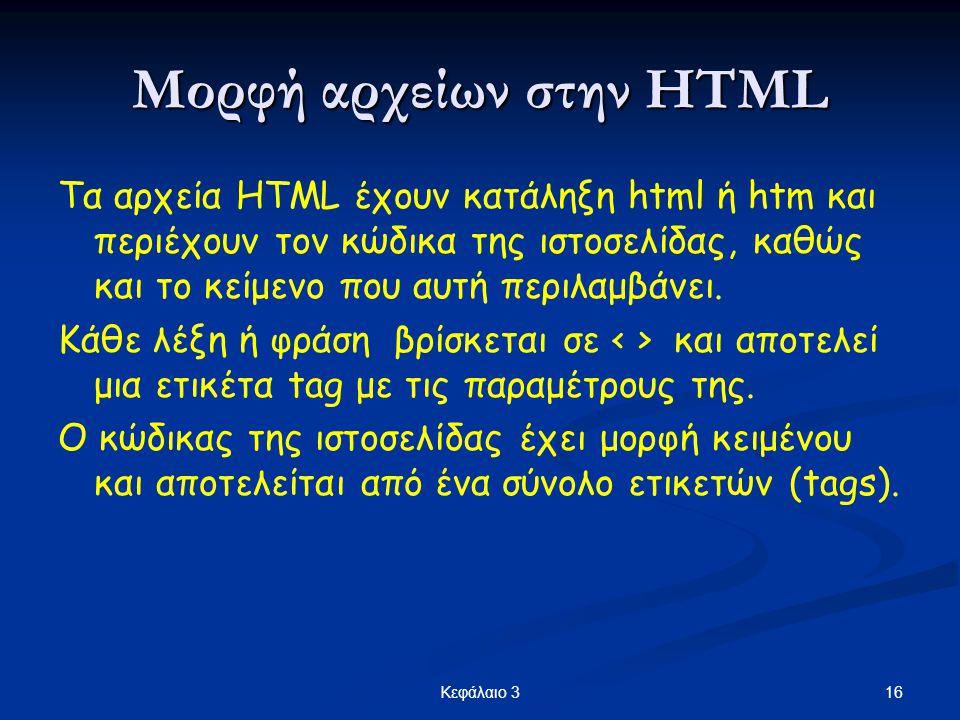 Μορφή αρχείων στην HTML