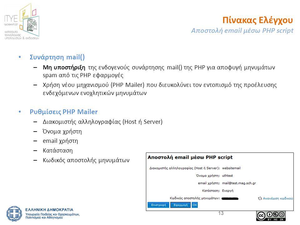Πίνακας Ελέγχου Αποστολή email μέσω PHP script