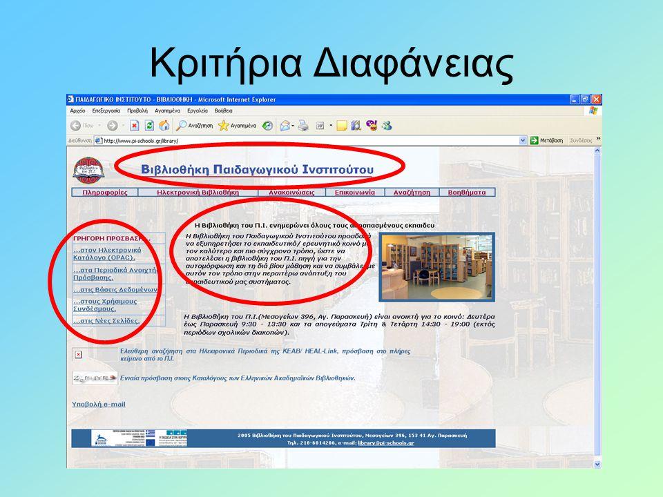 Κριτήρια Διαφάνειας