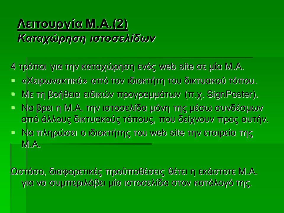 Λειτουργία Μ.Α.(2) Καταχώρηση ιστοσελίδων