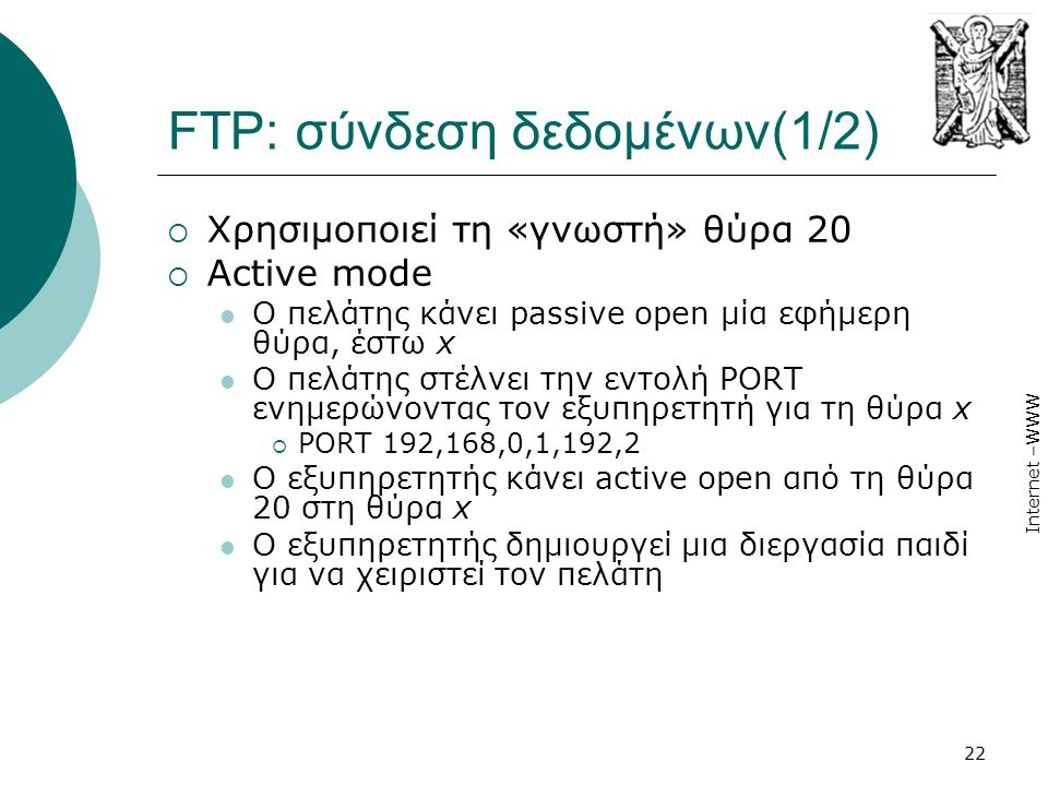 FTP: σύνδεση δεδομένων(1/2)