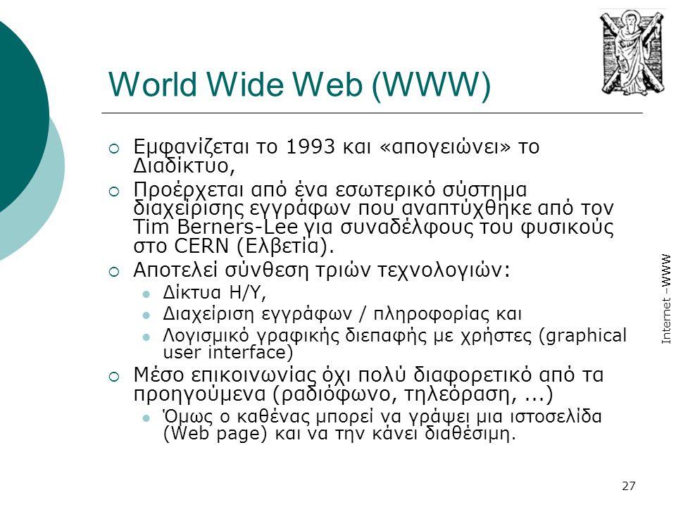 World Wide Web (WWW) Εμφανίζεται το 1993 και «απογειώνει» το Διαδίκτυο,