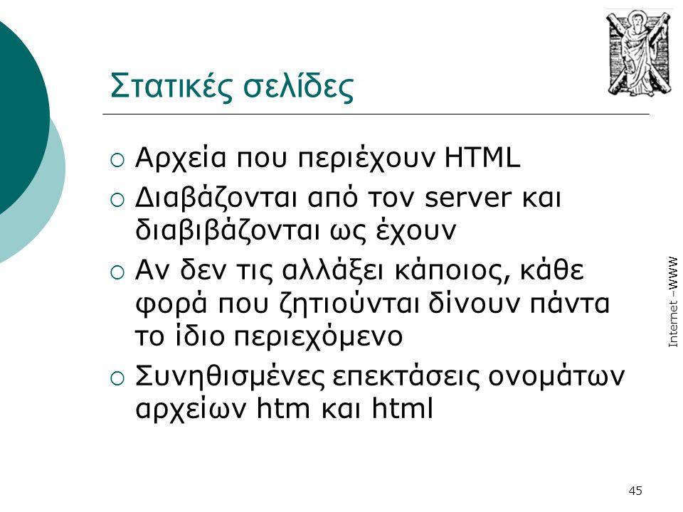 Στατικές σελίδες Αρχεία που περιέχουν HTML