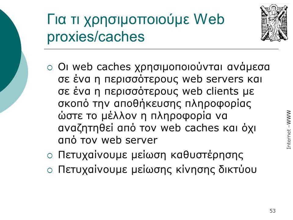 Για τι χρησιμοποιούμε Web proxies/caches