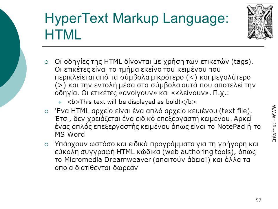 HyperText Markup Language: HTML