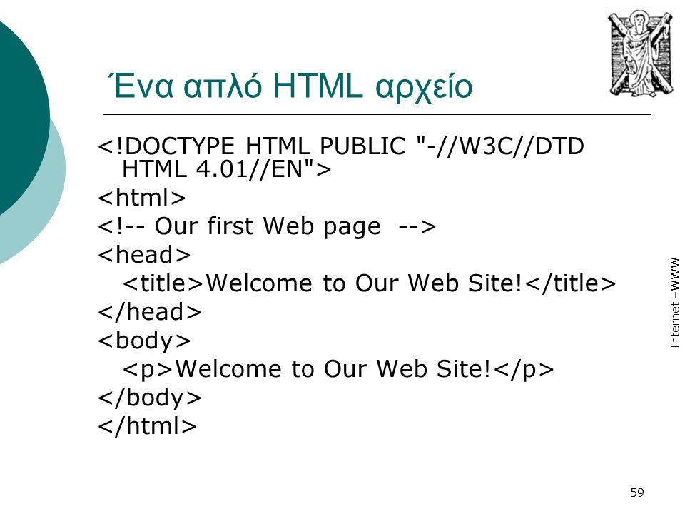 Ένα απλό HTML αρχείο <!DOCTYPE HTML PUBLIC -//W3C//DTD HTML 4.01//EN > <html> <!-- Our first Web page -->