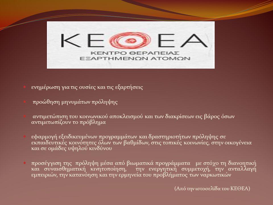ενημέρωση για τις ουσίες και τις εξαρτήσεις