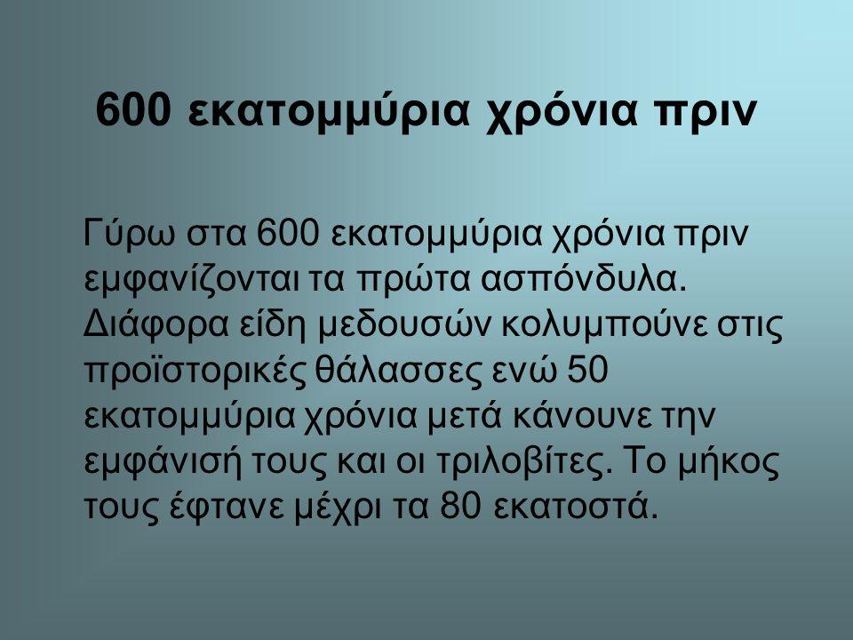 600 εκατομμύρια χρόνια πριν