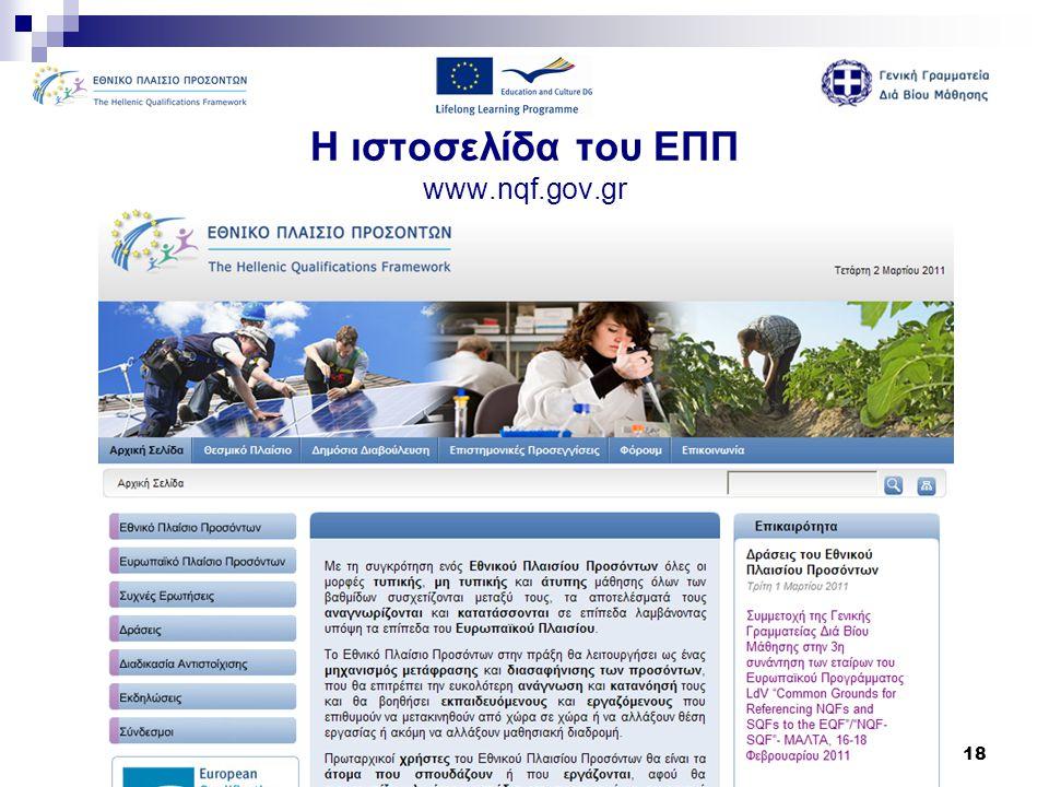Η ιστοσελίδα του ΕΠΠ www.nqf.gov.gr