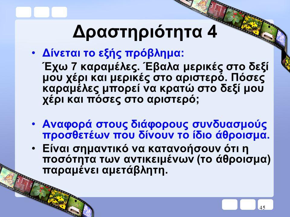 Δραστηριότητα 4 Δίνεται το εξής πρόβλημα: