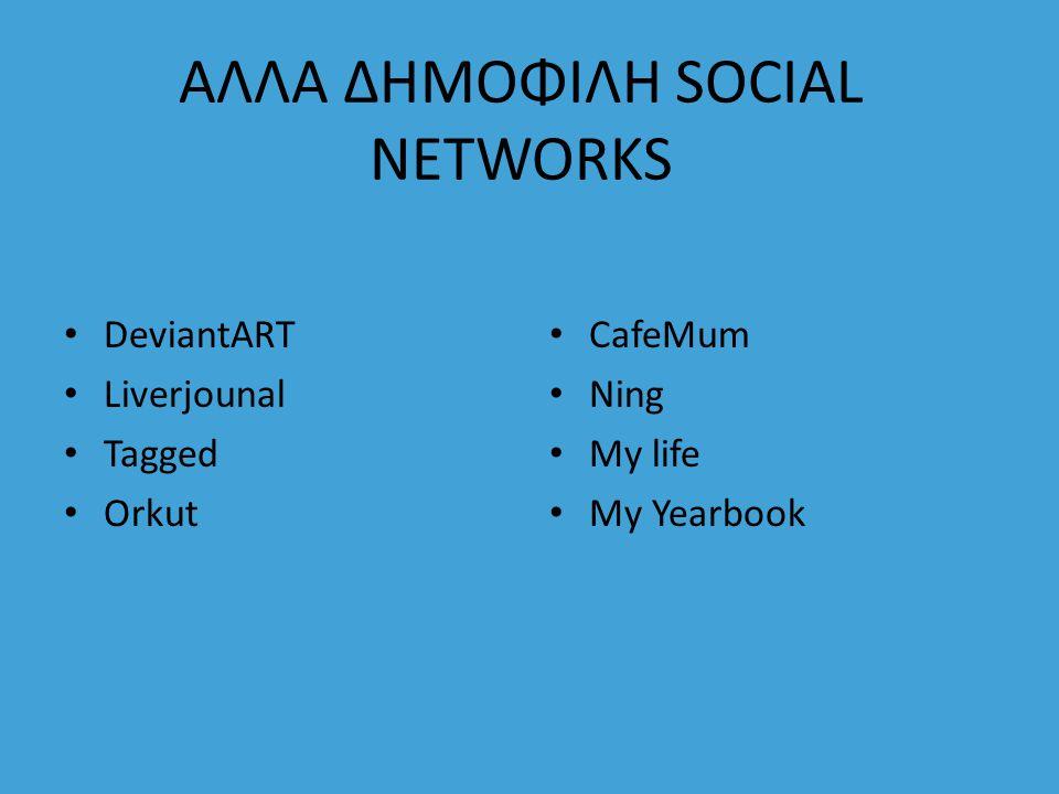 ΑΛΛΑ ΔΗΜΟΦΙΛΗ SOCIAL NETWORKS