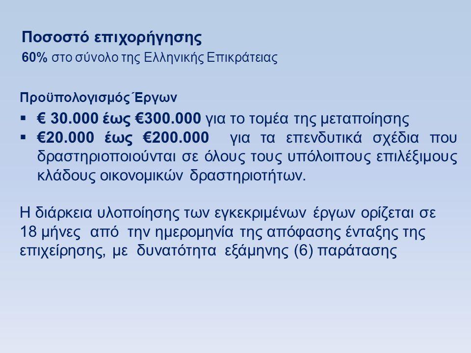 € 30.000 έως €300.000 για το τομέα της μεταποίησης