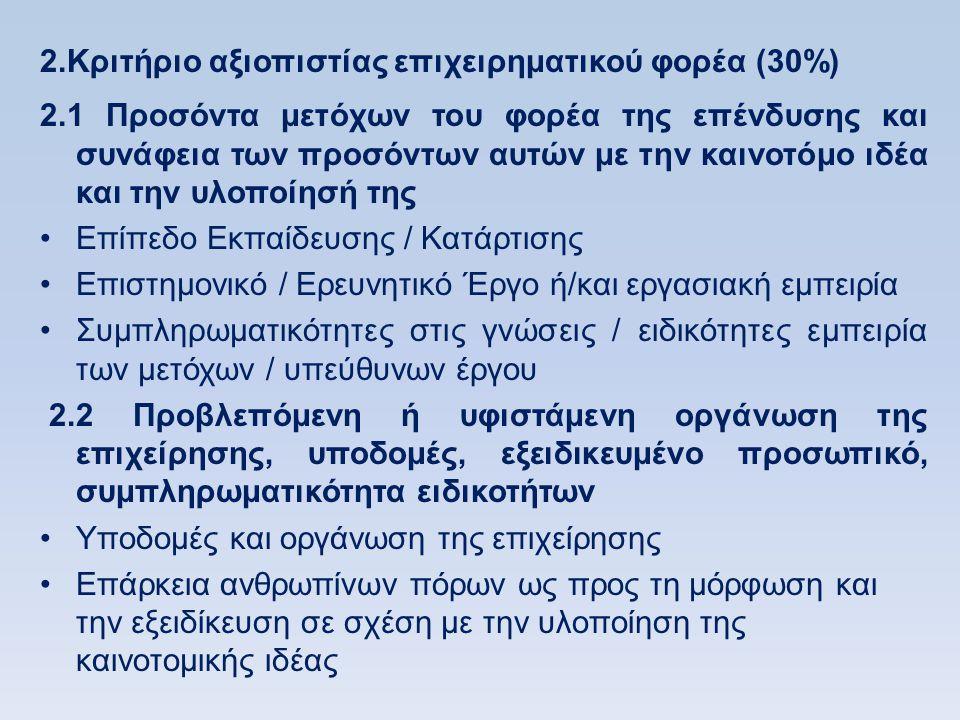 2.Κριτήριο αξιοπιστίας επιχειρηματικού φορέα (30%)