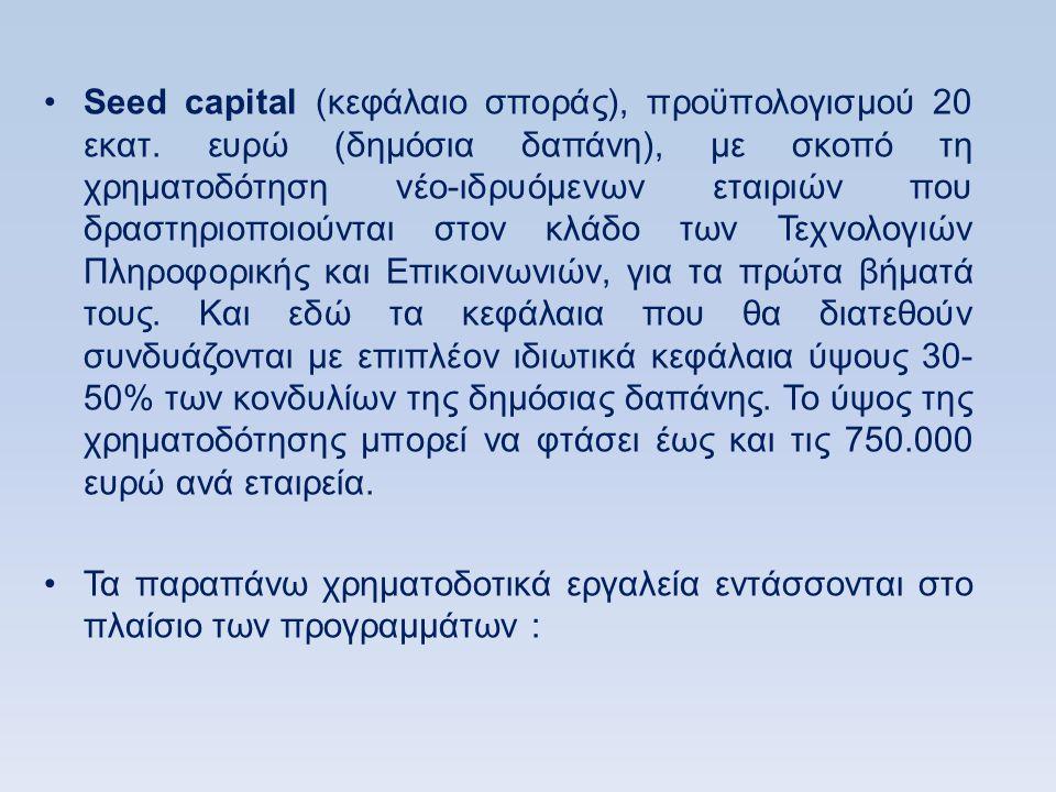 Seed capital (κεφάλαιο σποράς), προϋπολογισμού 20 εκατ