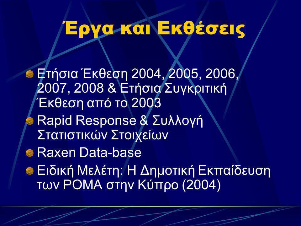 Έργα και Εκθέσεις Ετήσια Έκθεση 2004, 2005, 2006, 2007, 2008 & Ετήσια Συγκριτική Έκθεση από το 2003.