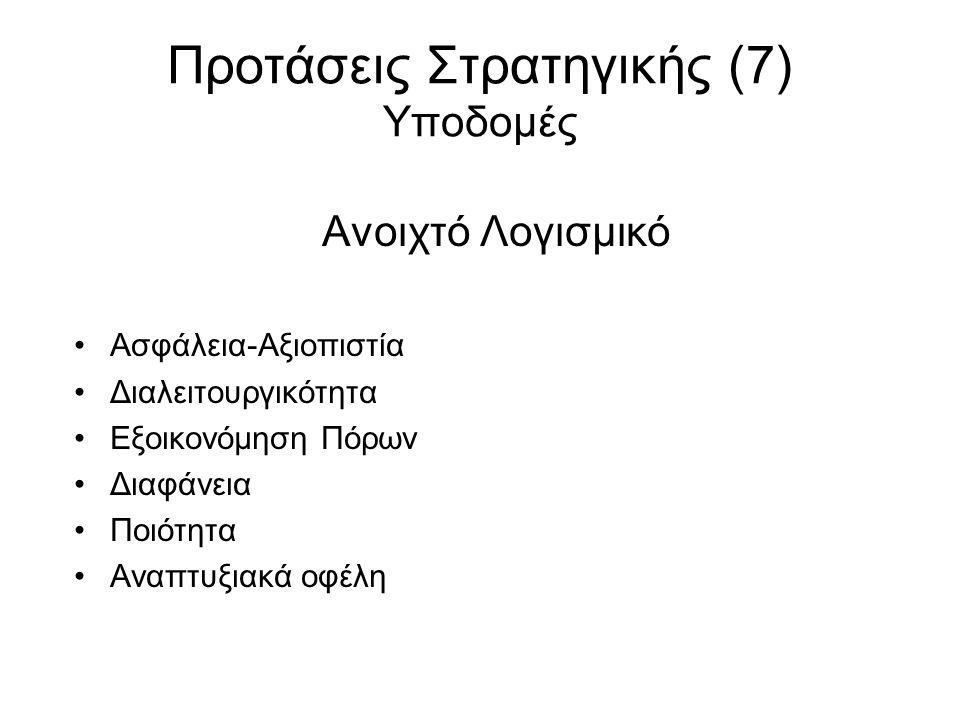 Προτάσεις Στρατηγικής (7) Υποδομές