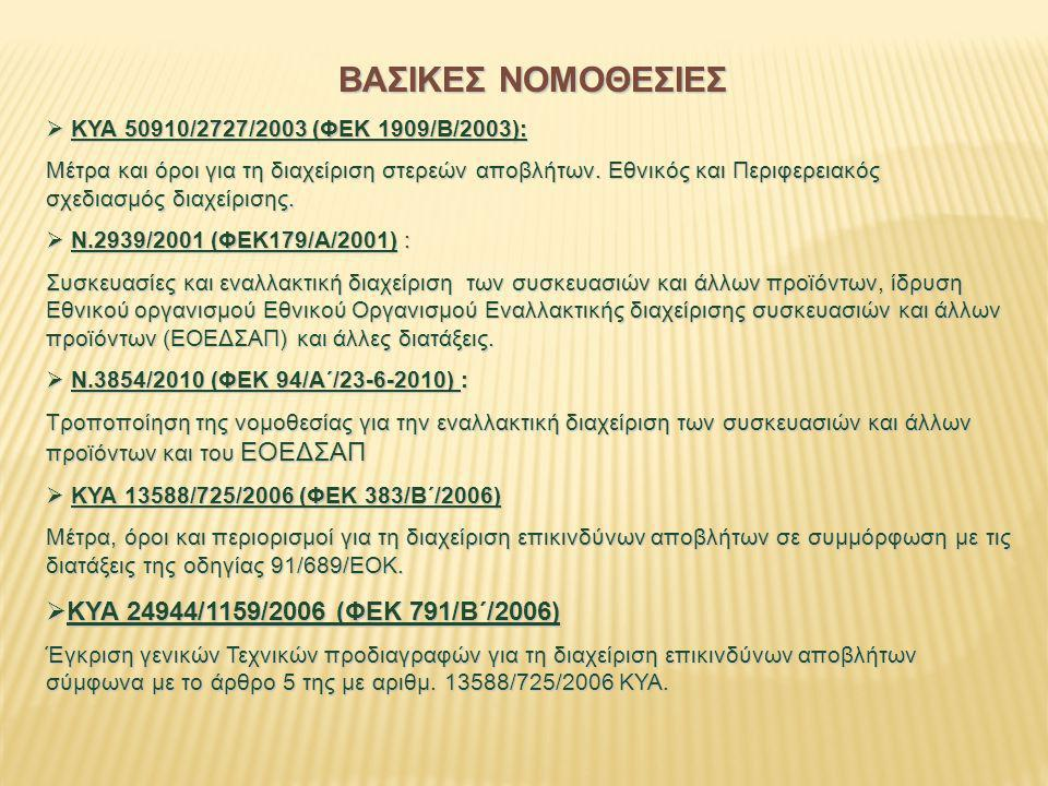 ΒΑΣΙΚΕΣ ΝΟΜΟΘΕΣΙΕΣ ΚΥΑ 24944/1159/2006 (ΦΕΚ 791/Β΄/2006)