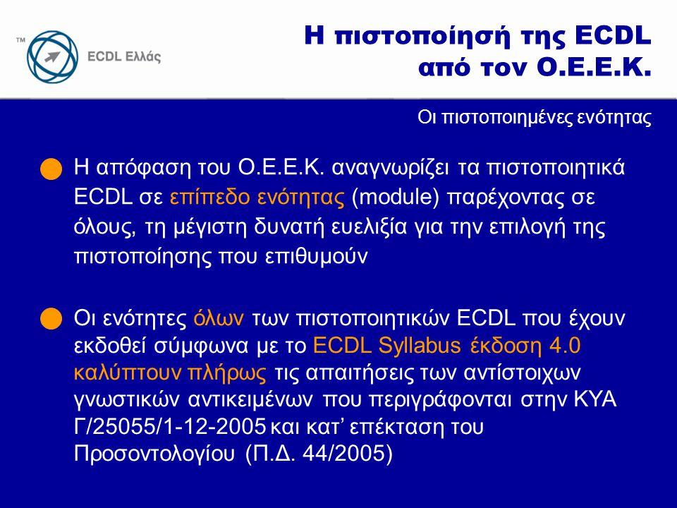 Η πιστοποίησή της ECDL από τον Ο.Ε.Ε.Κ.