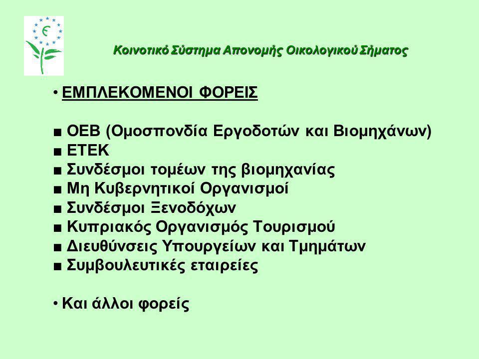 ■ OEB (Ομοσπονδία Εργοδοτών και Βιομηχάνων) ■ ΕΤΕΚ