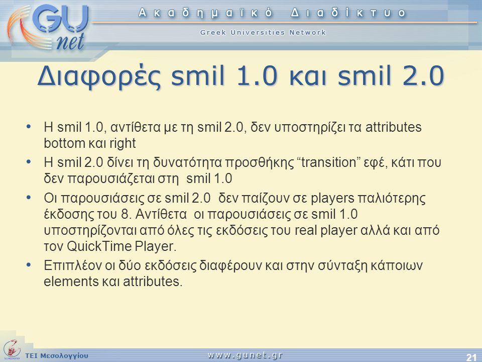 Διαφορές smil 1.0 και smil 2.0 Η smil 1.0, αντίθετα με τη smil 2.0, δεν υποστηρίζει τα attributes bottom και right.