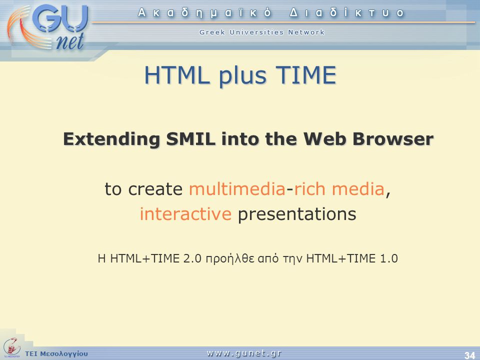 Extending SMIL into the Web Browser