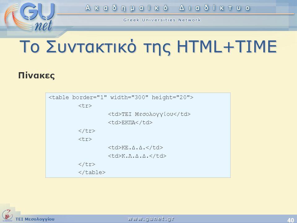 Το Συντακτικό της HTML+TIME