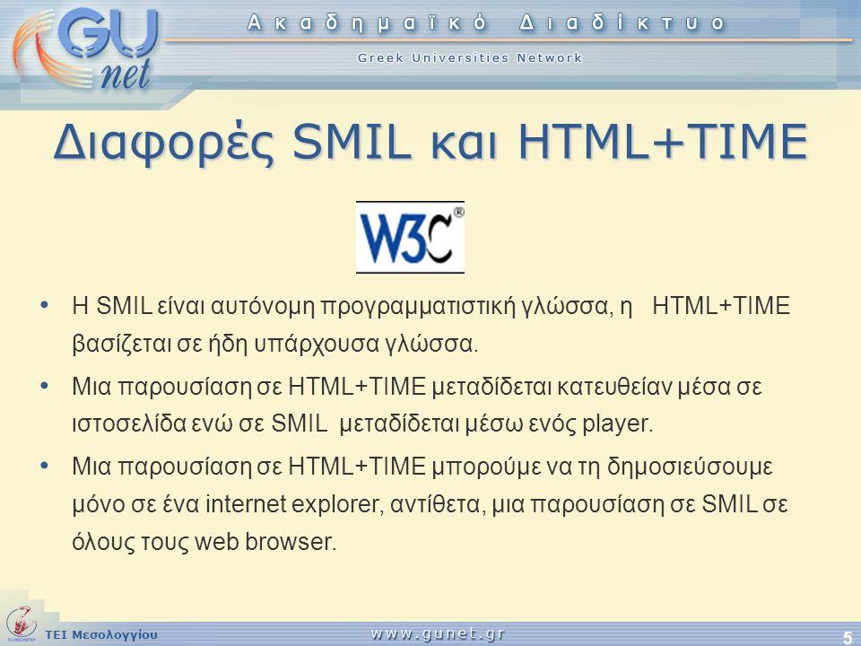 Διαφορές SMIL και HTML+TIME