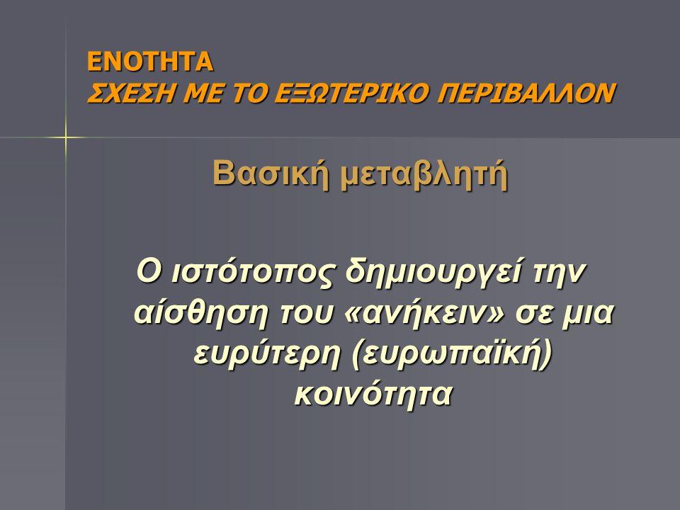 ΕΝΟΤΗΤΑ ΣΧΕΣΗ ΜΕ ΤΟ ΕΞΩΤΕΡΙΚΟ ΠΕΡΙΒΑΛΛΟΝ