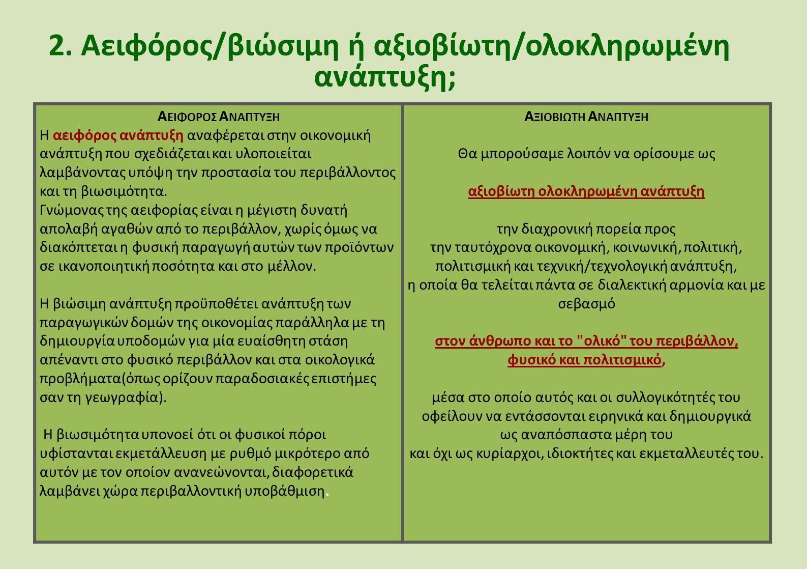 2. Αειφόρος/βιώσιμη ή αξιοβίωτη/ολοκληρωμένη ανάπτυξη;