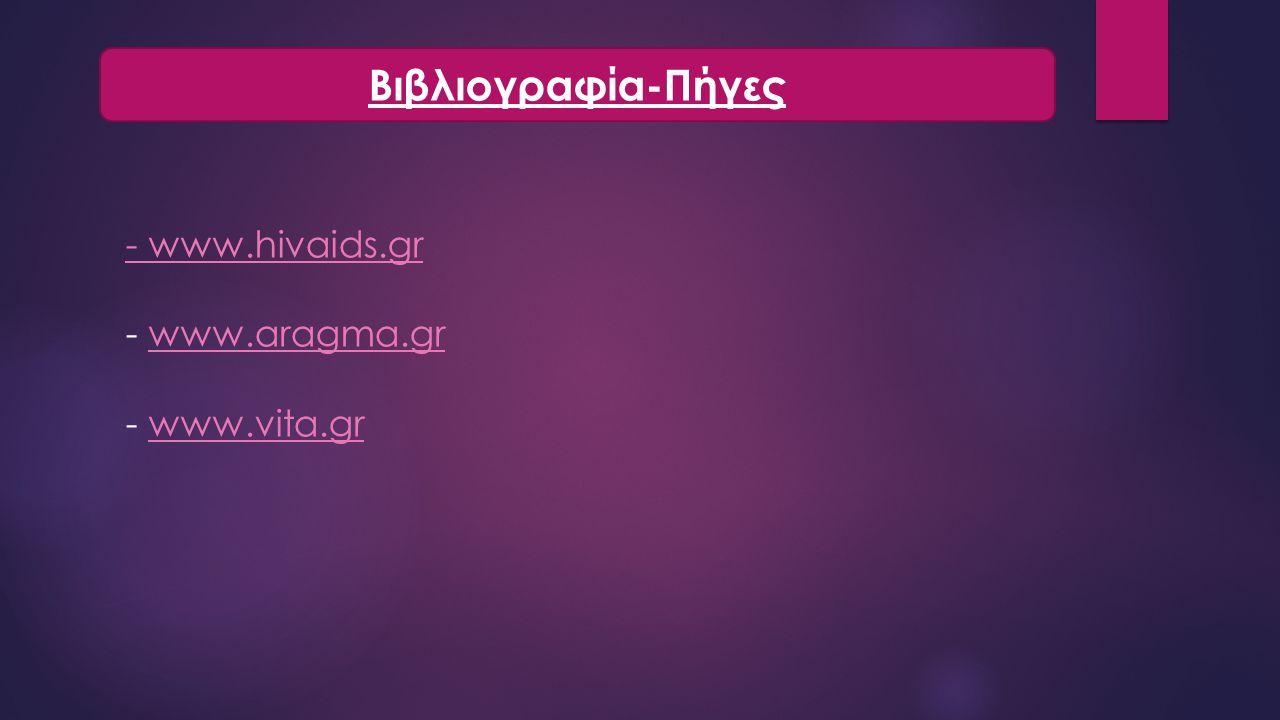Βιβλιογραφία-Πήγες - www.hivaids.gr - www.aragma.gr - www.vita.gr