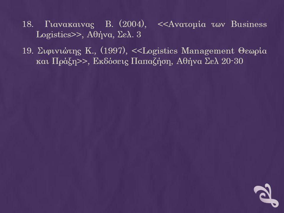 18. Γιανακαινας Β. (2004), <<Ανατομία των Business Logistics>>, Αθήνα, Σελ.