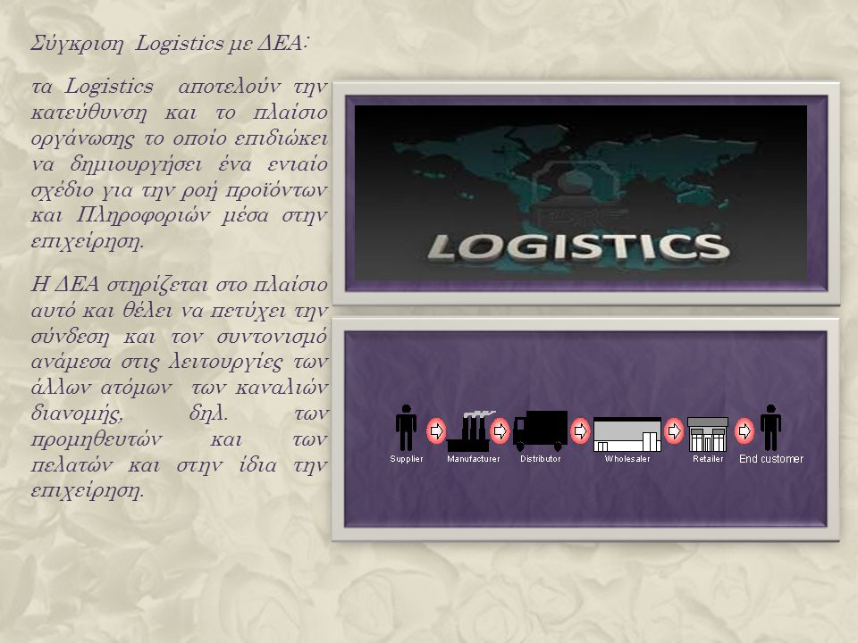 Σύγκριση Logistics με ΔΕΑ: