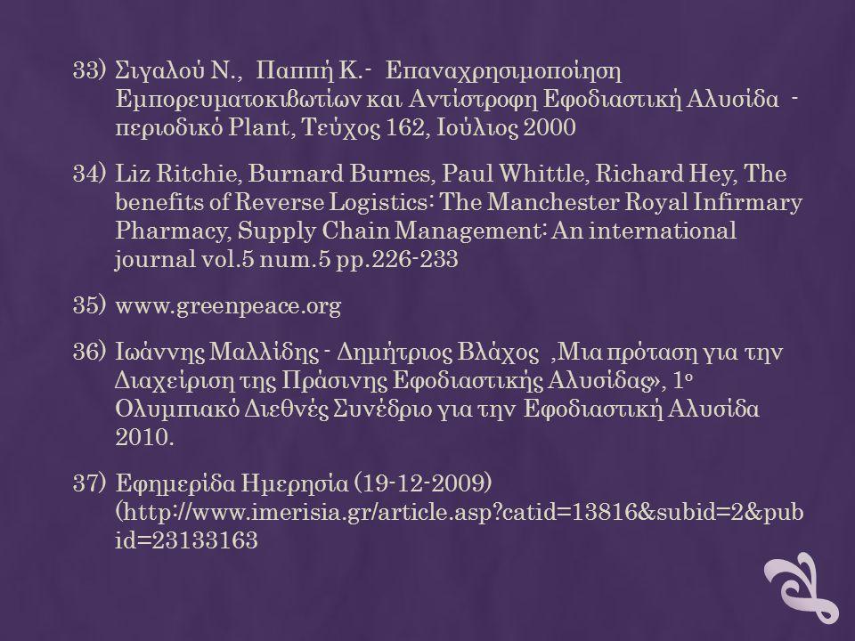 Σιγαλού Ν., Παππή Κ.- Επαναχρησιμοποίηση Εμπορευματοκιβωτίων και Αντίστροφη Εφοδιαστική Αλυσίδα - περιοδικό Plant, Τεύχος 162, Ιούλιος 2000