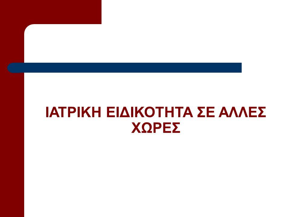 ΙΑΤΡΙΚΗ ΕΙΔΙΚΟΤΗΤΑ ΣΕ ΑΛΛΕΣ ΧΩΡΕΣ