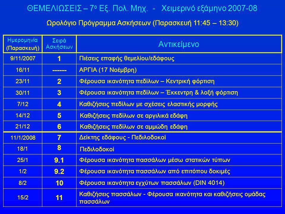 ΘΕΜΕΛΙΩΣΕΙΣ – 7ο Εξ. Πολ. Μηχ. - Χειμερινό εξάμηνο 2007-08