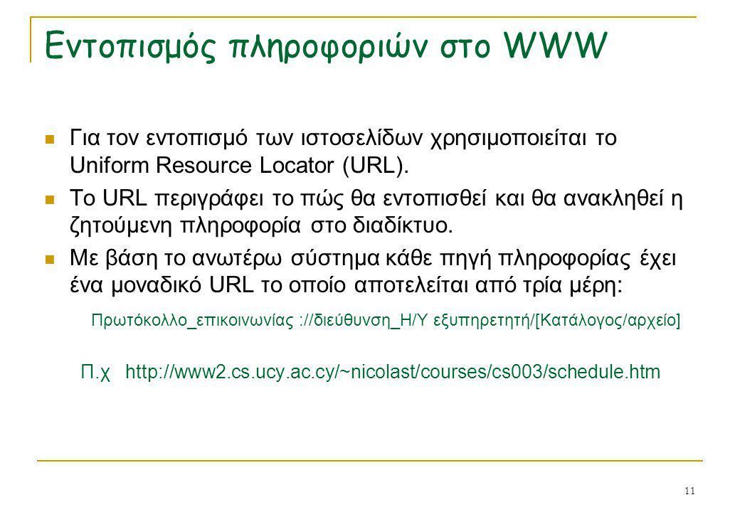 Εντοπισμός πληροφοριών στο WWW