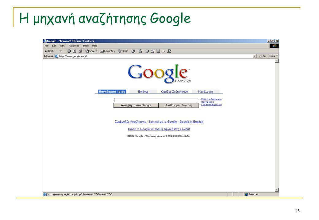 Η μηχανή αναζήτησης Google
