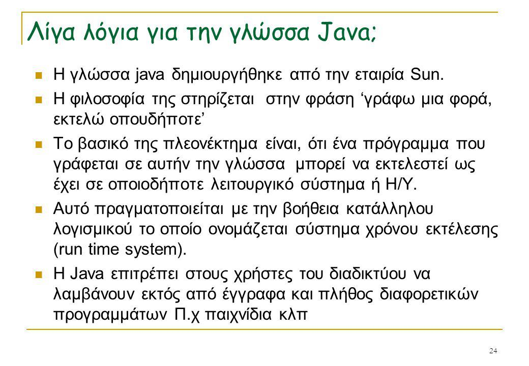 Λίγα λόγια για την γλώσσα Java;