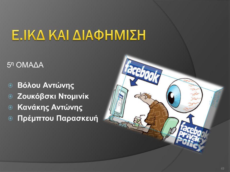 Ε.ΙΚΔ ΚΑΙ ΔΙΑΦΗΜΙΣΗ 5η ΟΜΑΔΑ Βόλου Αντώνης Ζουκόβσκι Ντομινίκ