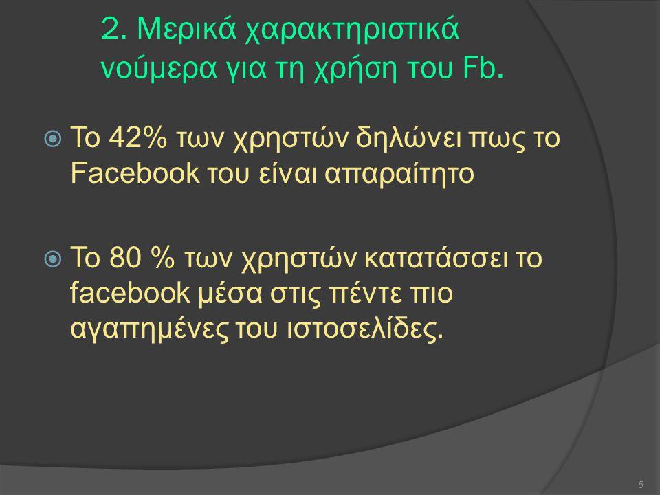 2. Μερικά χαρακτηριστικά νούμερα για τη χρήση του Fb.
