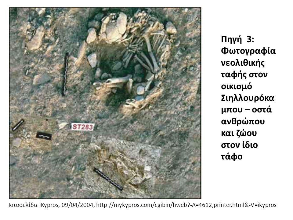 Πηγή 3: Φωτογραφία νεολιθικής ταφής στον οικισμό Σιηλλουρόκαμπου – οστά ανθρώπου και ζώου στον ίδιο τάφο