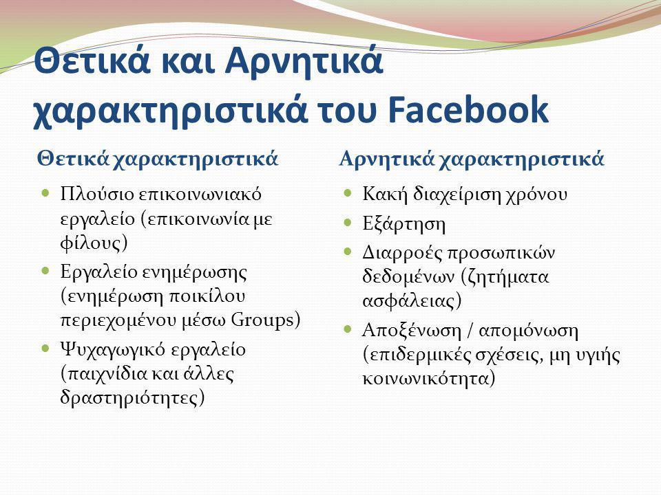 Θετικά και Αρνητικά χαρακτηριστικά του Facebook