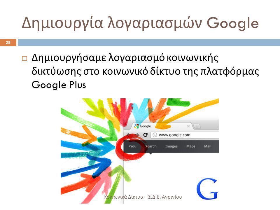 Δημιουργία λογαριασμών Google