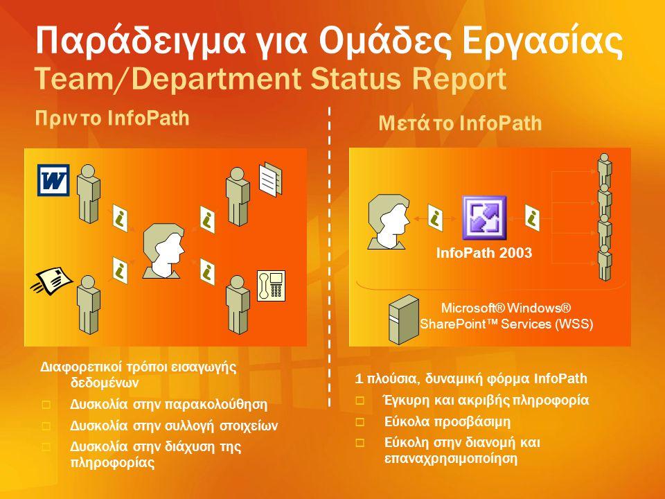 Παράδειγμα για Ομάδες Εργασίας Team/Department Status Report