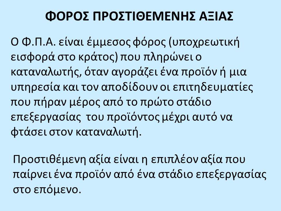 ΦΟΡΟΣ ΠΡΟΣΤΙΘΕΜΕΝΗΣ ΑΞΙΑΣ