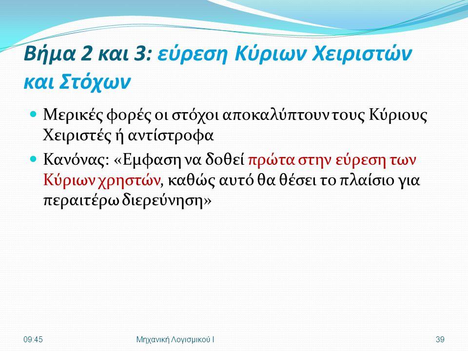 Βήμα 2 και 3: εύρεση Κύριων Χειριστών και Στόχων