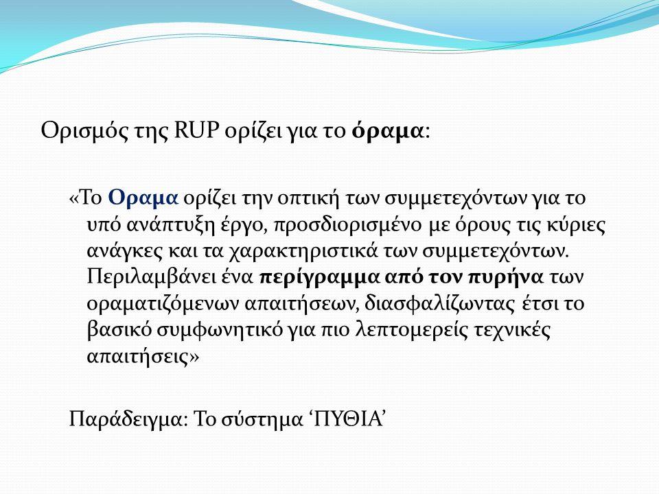 Ορισμός της RUP ορίζει για το όραμα: